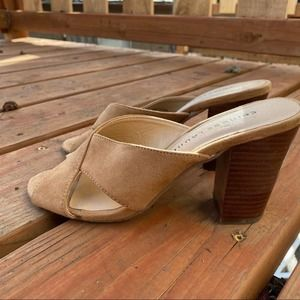 Chinese Laundry Cross Heels 7 Tan Suede